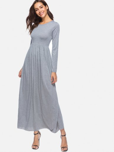 OneBling Spring Long Sleeve High Waist Big Swing Maxi Dress