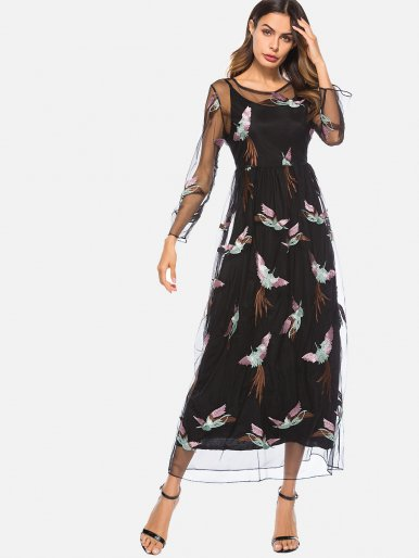 OneBling Lace Embroidery Birds Perspective Sexy O-Neck Maxi Dress Two-piece