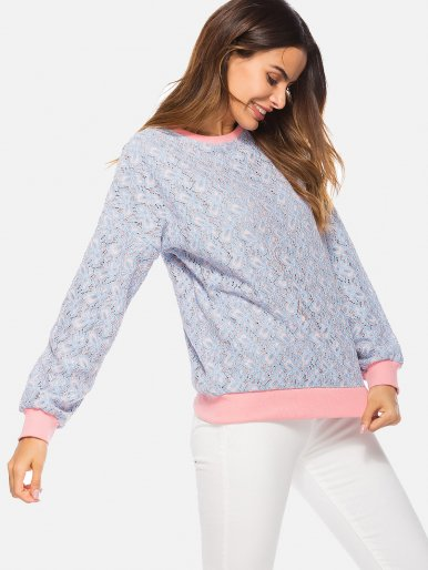 OneBling Plus Size Long Sleeve Lace Women Sweatershirts