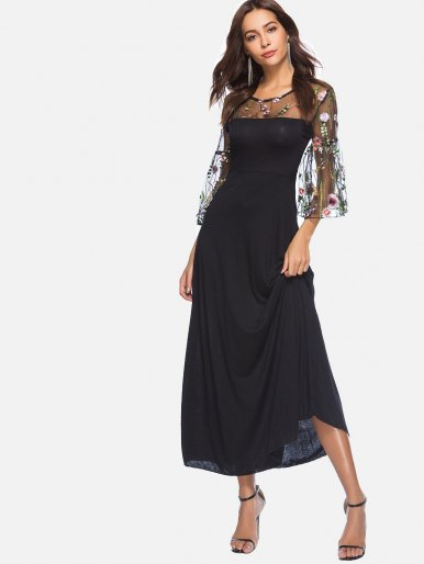 OneBling O-Neck Flare Sleeve Embroidered High Waist Dress