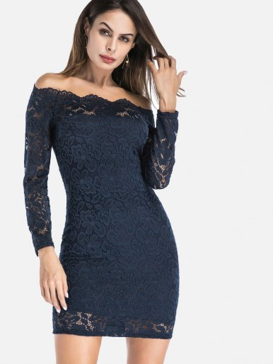 OneBling Plus Size Long Sleeve Lace Overlay Bodycon Off The Shoulder Dress