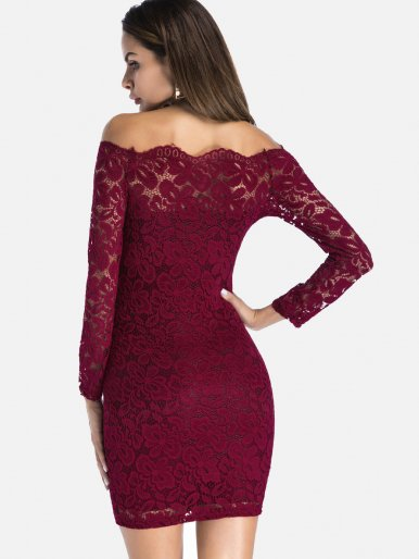 OneBling Plus Size Off The Shoulder Dobby Lace Bodycon Mini Dress