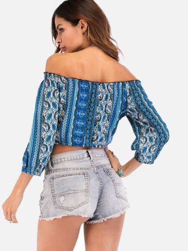 OneBling Bohemian Printed Off The Shoulder Women Crop Tops