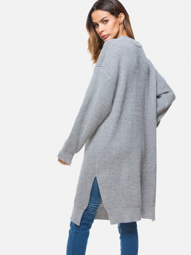 OneBling Knitted Sweater Dress Women Loose Split Knitting Pullover