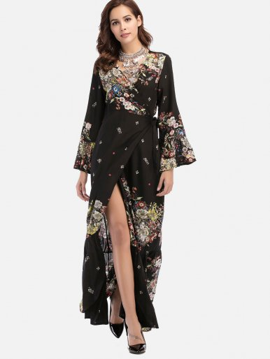 OneBling Black Floral Print Self Belted Surplice Wrap Dress