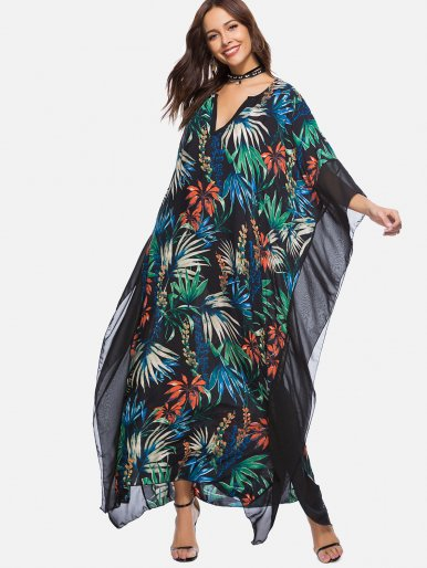 OneBling Botanical Print Contrast Trim Oversized Dress