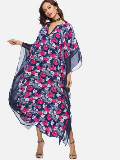 OneBling All Over Printed Plunge Neck Dolman Sleeve Dress