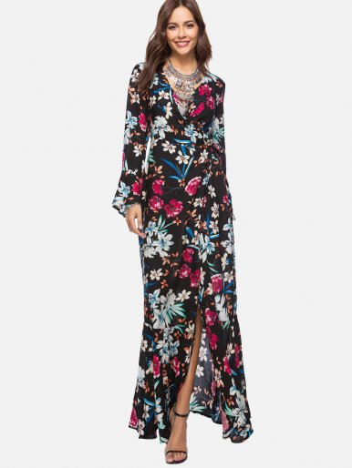 OneBling Ornate Print Plunge Neck Ruffles Detail Dress