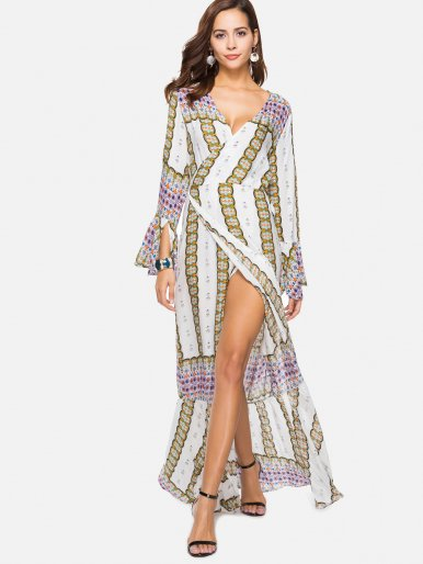 OneBling Wide Flounce Hem Printed Surplice Wrap Dress