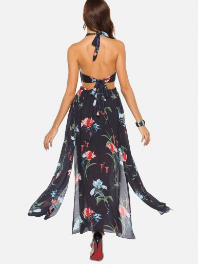 OneBling Cut Out High Waist Open Back Halter Chiffon Dress