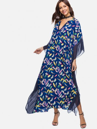 OneBling Feather Print Loose Dolman Sleeve Maxi Dress