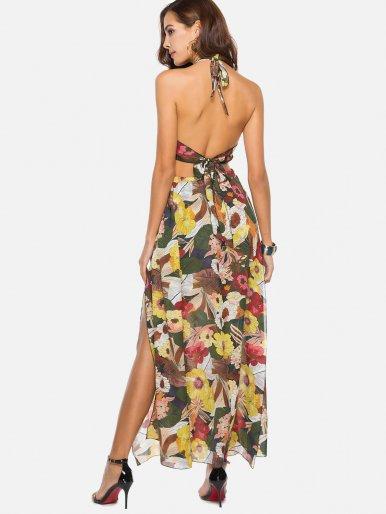 OneBling Floral Print Elastic High Waist Halter Dress