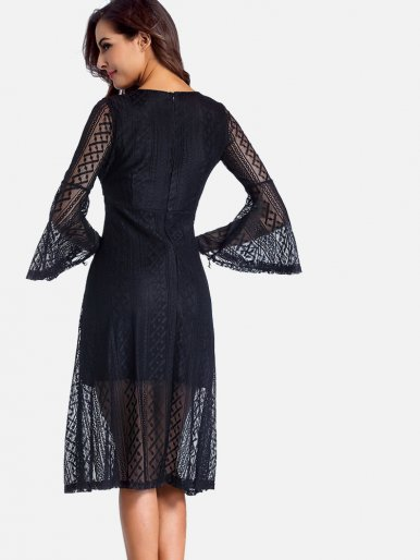 OneBling Surplice Neckline Trumpet Sleeve Lace Dress