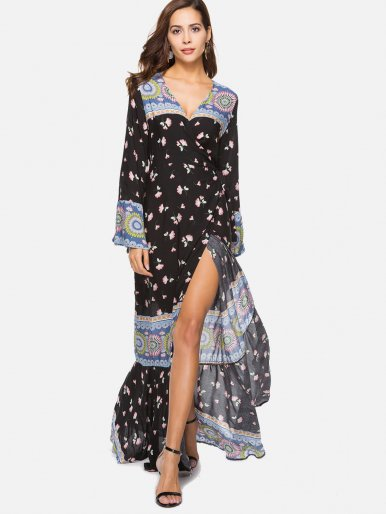 OneBling Fluted Sleeve Surplice Wrap Mixed Print Dress