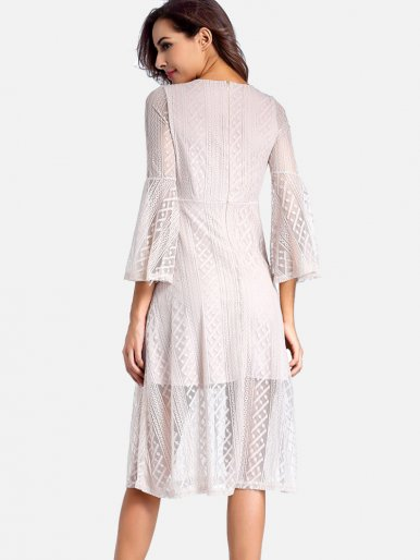 OneBling Crochet Lace Surplice Wrap Dress with Fluted Sleeve