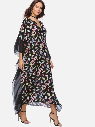 OneBling Feather Print Contrast Slit Side Beach Dress