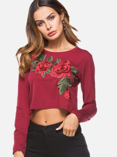 OneBling Embroidery Flowers Women Round Neck Long Sleeve T-shirt