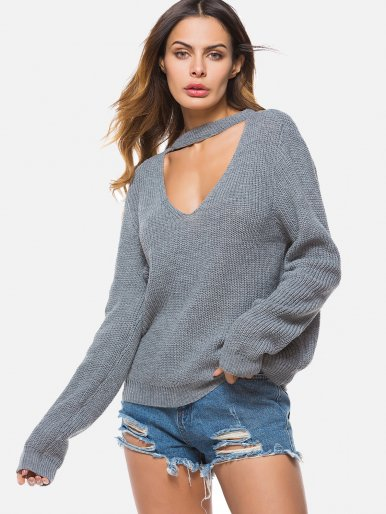 OneBling Halter V neck Sweater Women Loose Knitted Pullover Outerwear