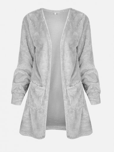 OneBling Dual Pockets Fuzzy Knit Cardigan Coat