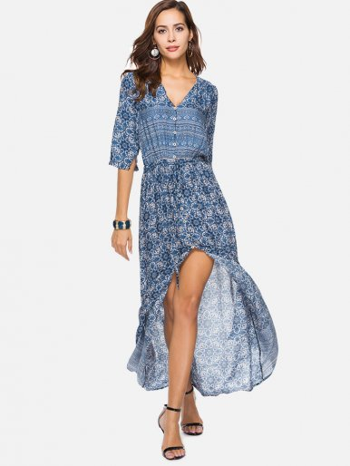 OneBling Calico Print Button Front High Split Bohemia Beach Dress