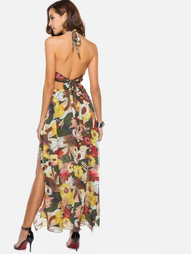 OneBling Lace Up Open Back Floral Printed Elastic Waist Dress