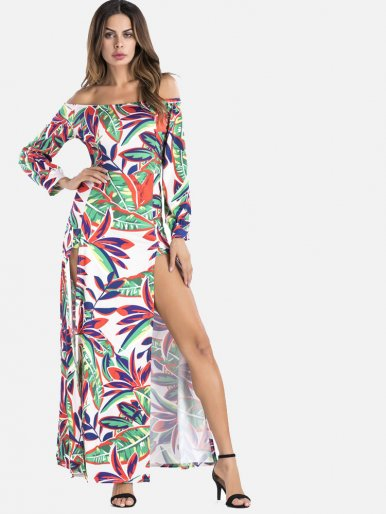 OneBling Sexy Off Shoulder Long Sleeve High Split Floral Print Maxi Dress
