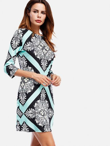 OneBling Elegant Printed Three Quarter Sleeve Women Sheath Mini Dress