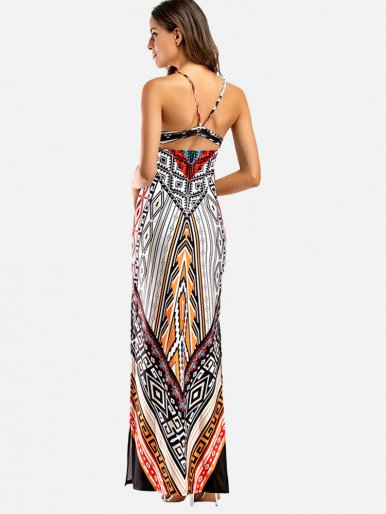 OneBling Print Sexy Cross Back Sleeveless Women Long Beach Dresses