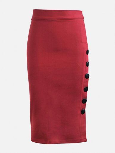 OneBling Plus Size Office Lady Midi Pencil Skirt with Button Detail