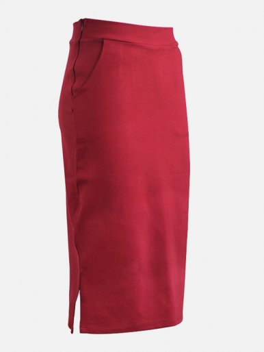 OneBling Plus Size Midi Pencil Skirt with Slit Side and Pockets