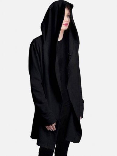 OneBling Plus Size Loose Unisex Longline Hoodies In Black