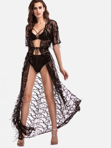 OneBling Sexy Beach Sequins Tassels Bikinis Cover Up Swimwear Women Bathing Suit Cover Ups