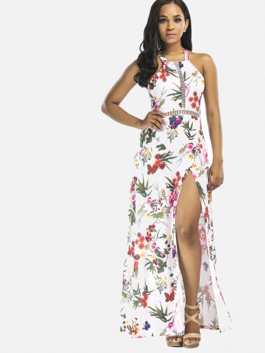 OneBling Sleeveless Halter Dress Backless High Split Floral Printed Women Beach Dress
