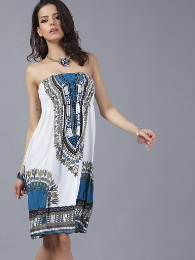 OneBling Women Wrapped Chest Bohemian Milk Ice Silk Dress