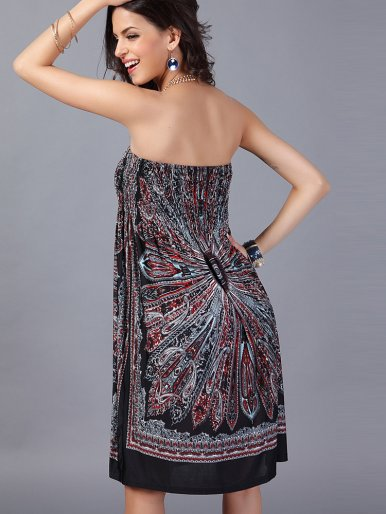 OneBling Sexy Women Strapless Wrapped Milk Silk Bohemian Dresses