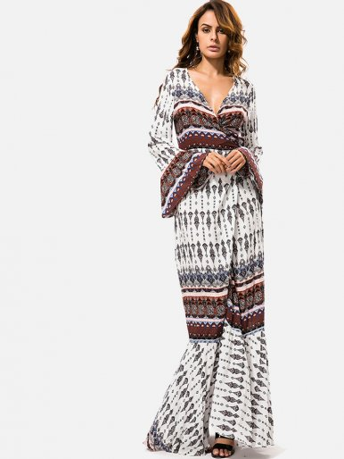 OneBling Deep V Flare Sleeve Beach Bohemian Floral Print Women Long Dress