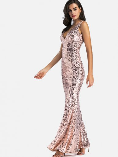 OneBling Sexy Deep V Sequins Vest Dress Backless Women Mermaid Dress