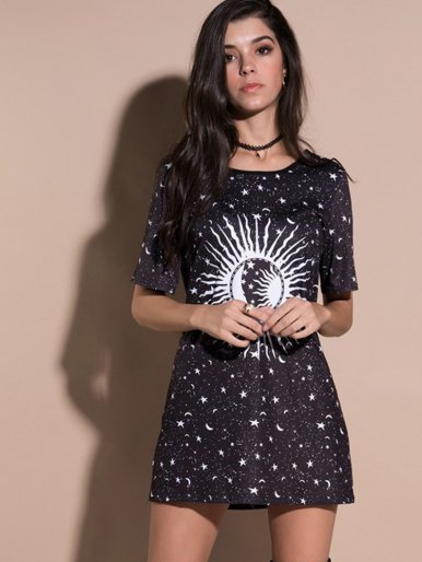 OneBling Short Sleeve Starry Sky Tee Dress