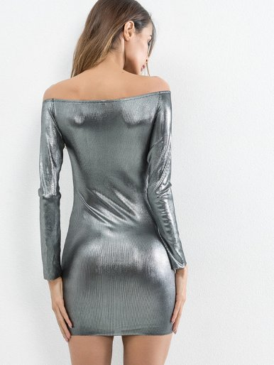 OneBling Long Sleeve Metallic Bodycon Off The Shoulder Dress