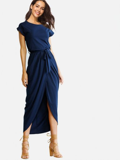 OneBling Short Sleeve Front Split Irregular Maxi Dress