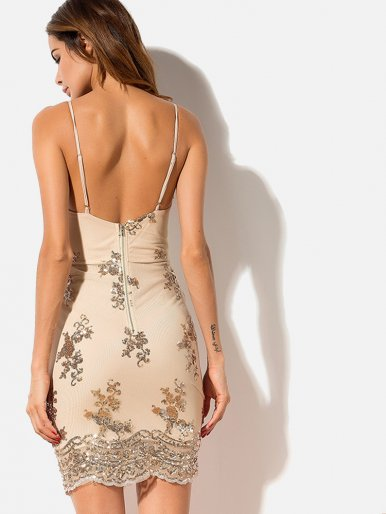 OneBling Zip-Back Sequins Embroidery Embellished Bodycon Cami Dress