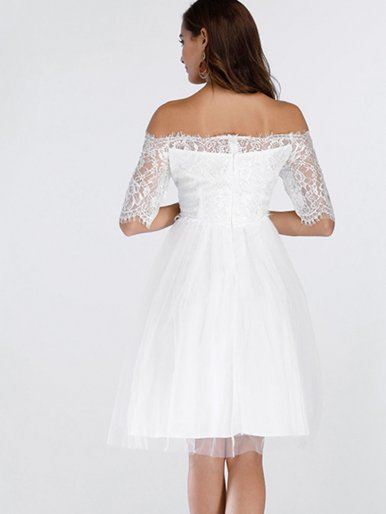 OneBling Off Shoulder Mesh White Lace Dress