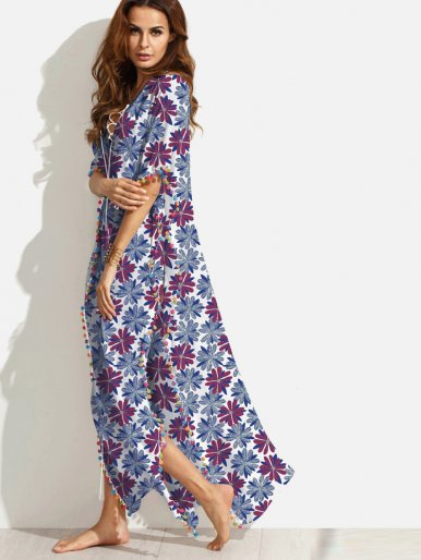 OneBling Plunge V Neck Pom Pom Trim Printed Dress