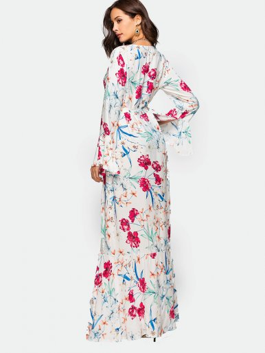 OneBling All Over Printed Ruffles Cuff and Hem Maxi Dress