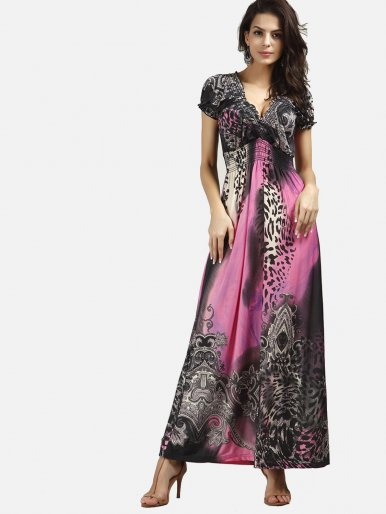 OneBling Ornate Print V Neckline Elastic Waist Dress