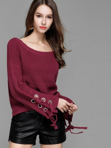 Women Big Round Neck Horn Sleeve Sweater Lace Shirt Sweater