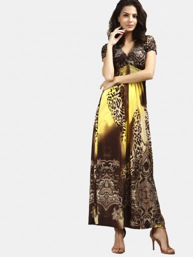 OneBling Plunge V Neck High Waist Maxi Dress