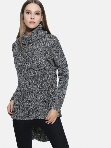 Women Knitted Bifurcate Pullovers Casual Turtleneck Sweaters