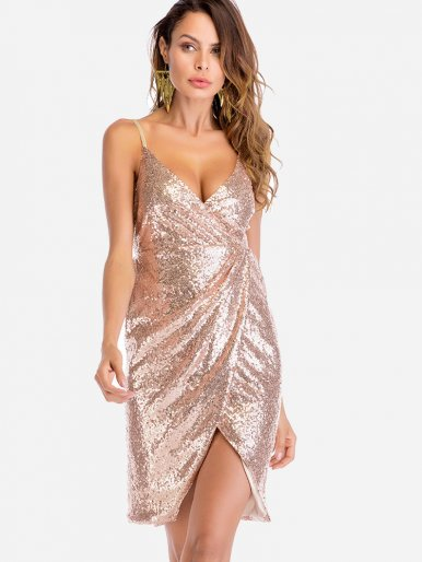 OneBling V-Back Draped Detail All Over Sequins Cami Dress
