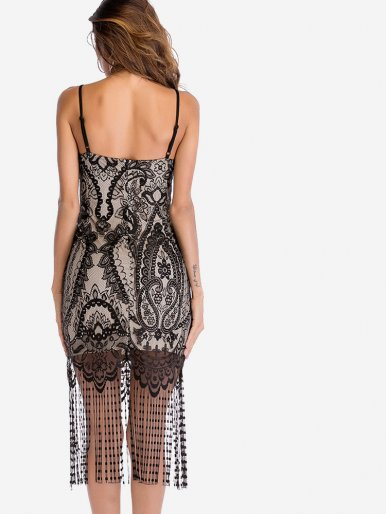 OneBling Tassels Hem All Over Jacquard Lace Cami Bodycon Dress